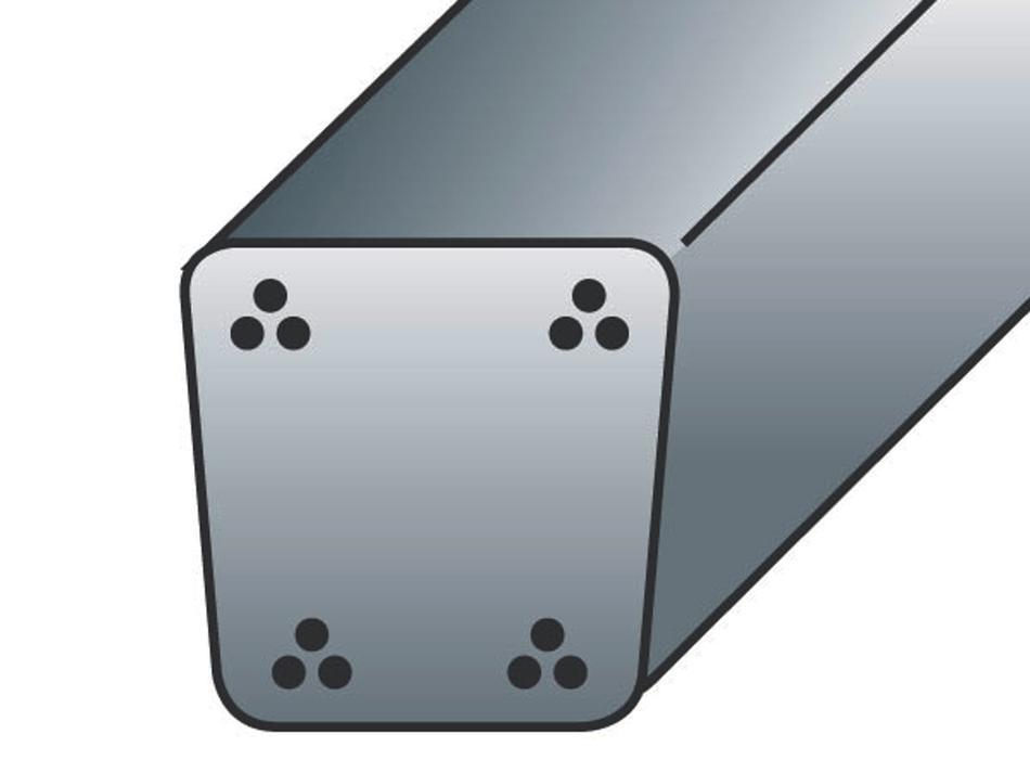 Palo in cemento armato precompresso sezione cm. 7x7,5 - 4 trecce