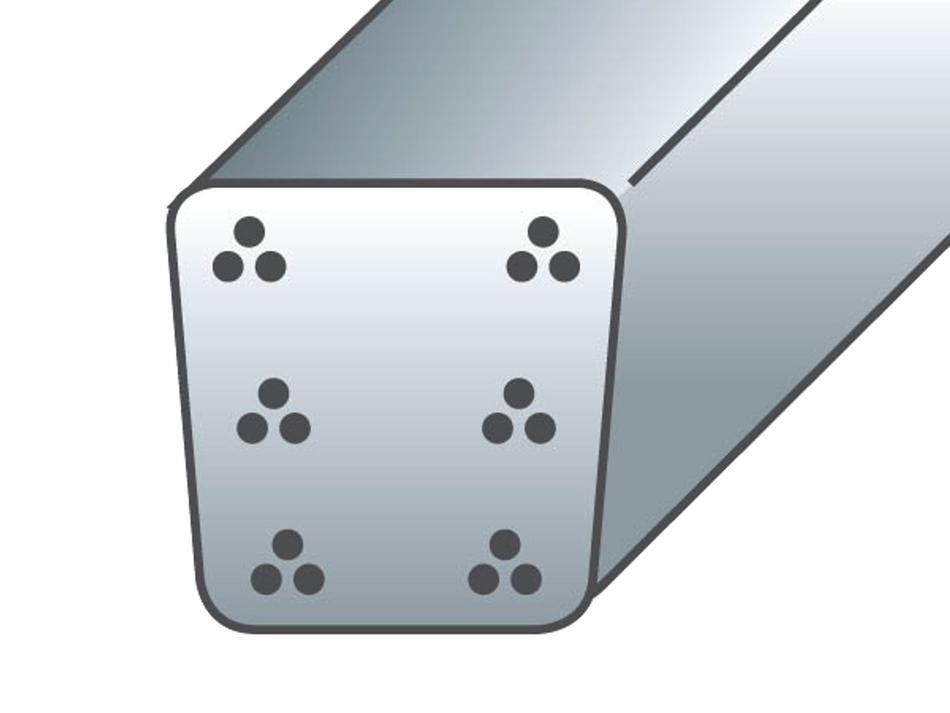 Palo in cemento armato precompresso sezione cm. 9x9,5 - 6 trecce