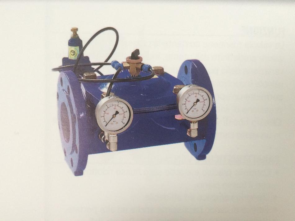 Sostegno di pressione con valvola di controllo in ghisa e pilota in plastica